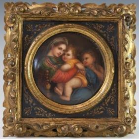 Antique Handpainted Religious Porcelain Plaque