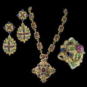 David Webb Style 18kt Gold Sapphire Emerald Ruby &