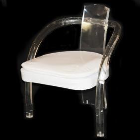 Contemporary Lucite Patent Leather Chair