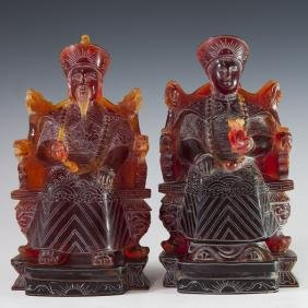 Antique Chinese Pressed Amber Emperors
