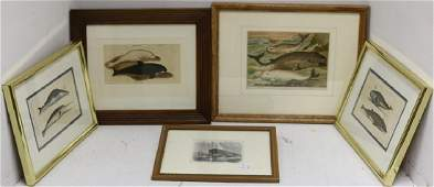 FIVE 19TH C WHALING PRINTS, HAND COLORED, 2 ARE