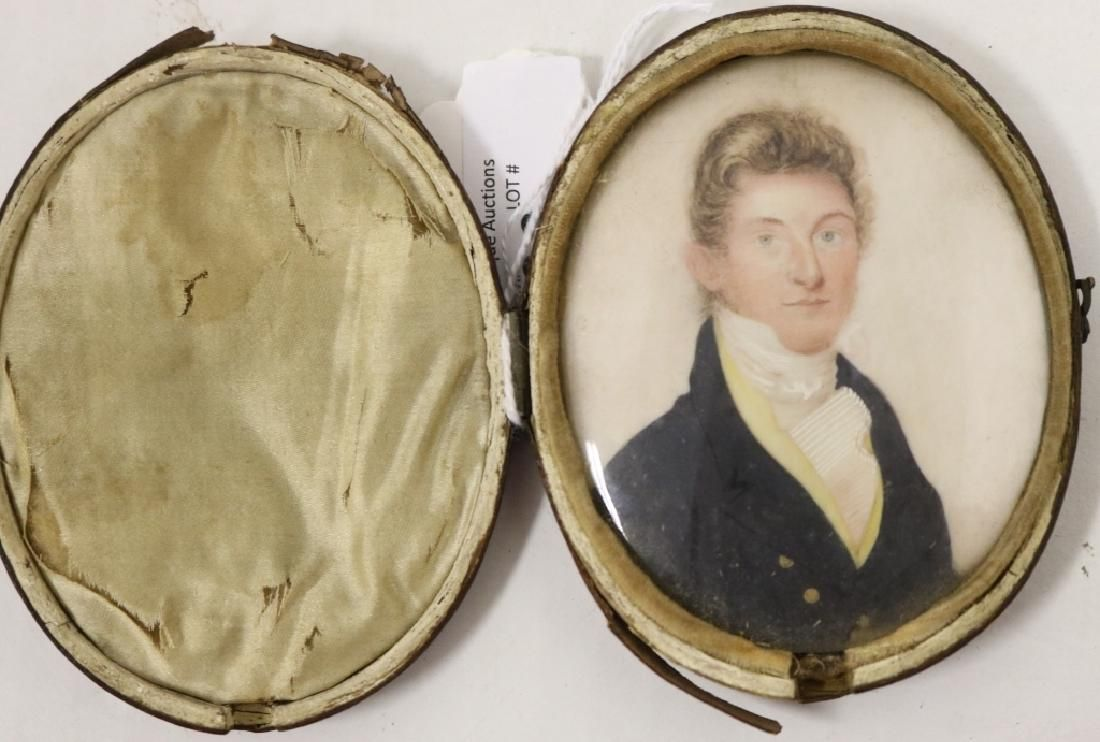 EARLY 19TH C AMERICAN PORTRAIT ON IVORY DEPICTING