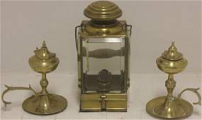 THREE 19TH C BRASS LIGHTING DEVICES TO INCLUDE