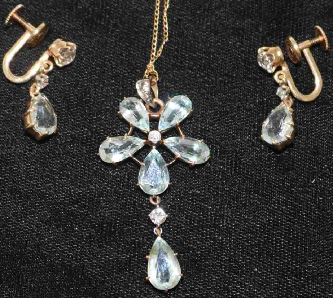 3 PC SET, DIAMOND AND AQUAMARINE TO INCLUDE A PAIR