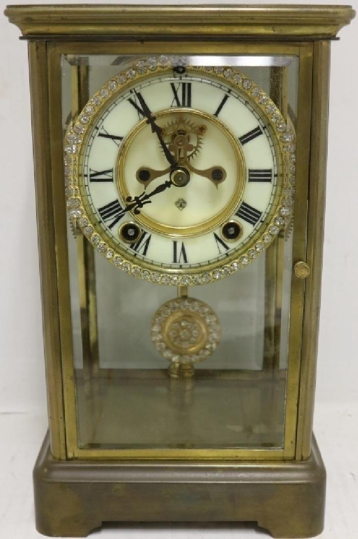 Brass and glass crystal regulator clock ansonia brass and glass crystal regulator clock amipublicfo Choice Image