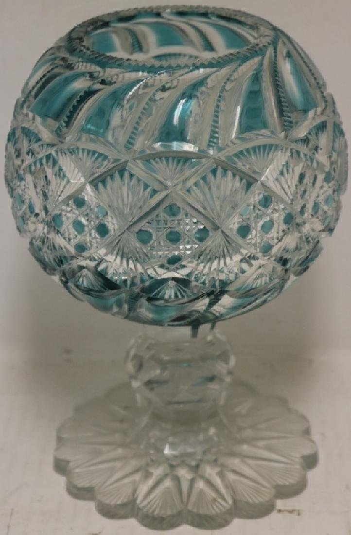 """19TH C GLASS GREEN OVERLAY ROSE BOWL, 10"""" HIGH,"""
