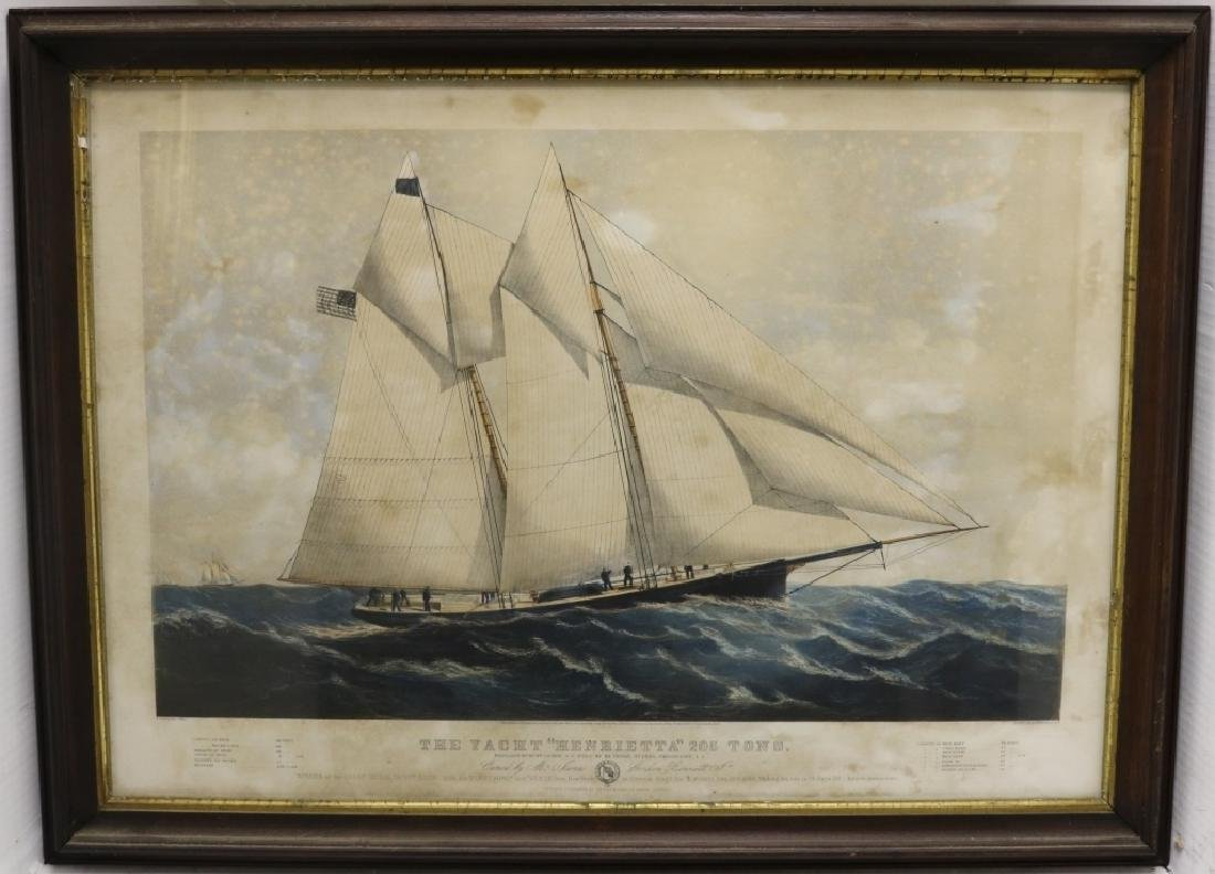 CURRIER AND IVES FRAMED COLORED LITHOGRAPH