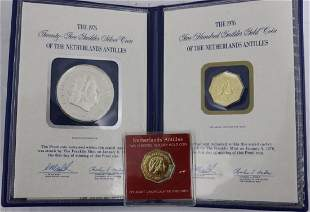 1976 LOT OF 3 NETHERLAND ANTILLES COINS TWO 200