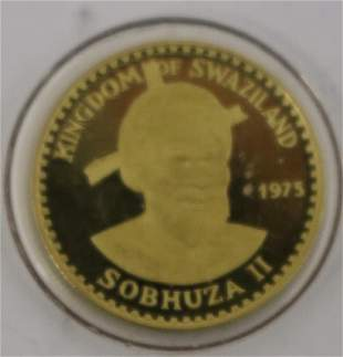 TWO 1975 SWAZILAND GOLD COINS 50 EMALANGENI