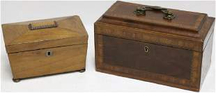 TWO 19TH C MAHOGANY TEA CADDIES ONE WITH INLAY