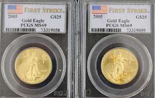 TWO 2005 25 GOLD EAGLE COINS 12 OZT EACH