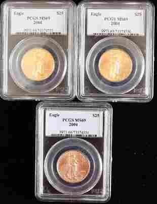 THREE 25 2004 GOLD EAGLE COINS 12 OZT EACH