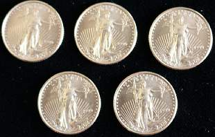 FIVE 1999 5 GOLD EAGLE COINS 110 OZT EACH