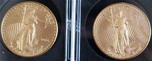 TWO 50 2004 WALKING LIBERTY GOLD COINS 1 OZT