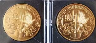 TWO 2005 100 EURO GOLD COINS REPUBLIK OSTERREICH