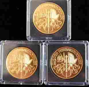 THREE 2005 100 EURO GOLD COINS REPUBLIK