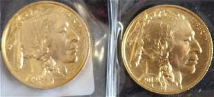 TWO 2012 50 BUFFALO GOLD COINS 1 OZT EACH UNC