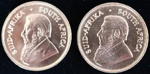 TWO 1975 GOLD KRUGERRANDS 1 OZT EACH UNC