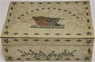 19TH C SCRIMSHAW WHALEBONE COVERED BOX, HOWLAND