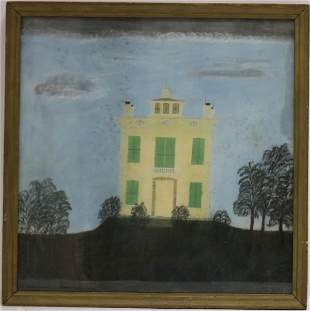 EARLY 19TH C PASTEL DRAWING OF A FEDERAL HOUSE