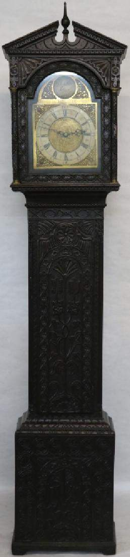 EARLY ENGLISH TALL CASE CLOCK, CARVED OAK CASE.