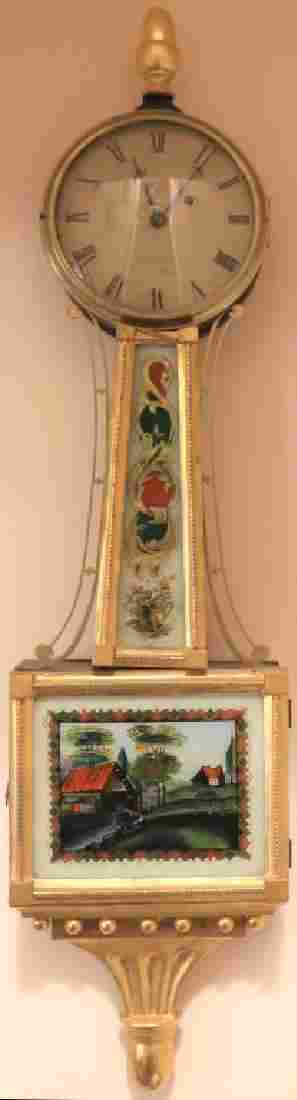 EARLY 19TH C BANJO CLOCK ATTRIBUTED TO AARON
