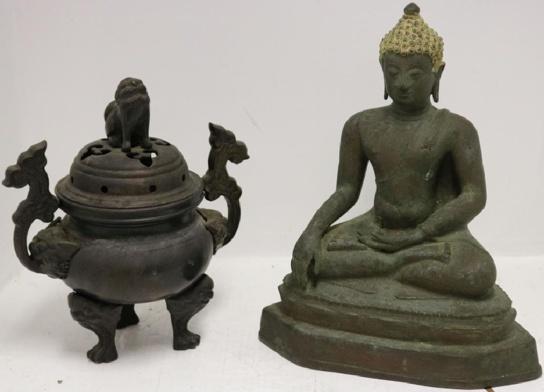 """TWO 19TH C ASIAN BRONZE ITEMS TO INCLUDE A 16"""""""