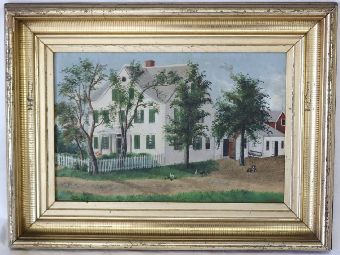 19TH C OIL PAINTING ON BOARD, COUNTRY FARMHOUSE