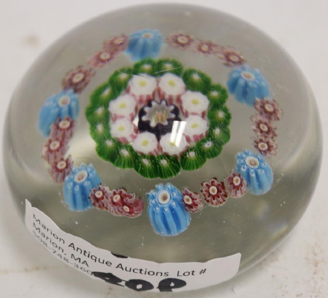 CLICHY PAPERWEIGHT, FRENCH, MOSS CANES, WHITES - 2