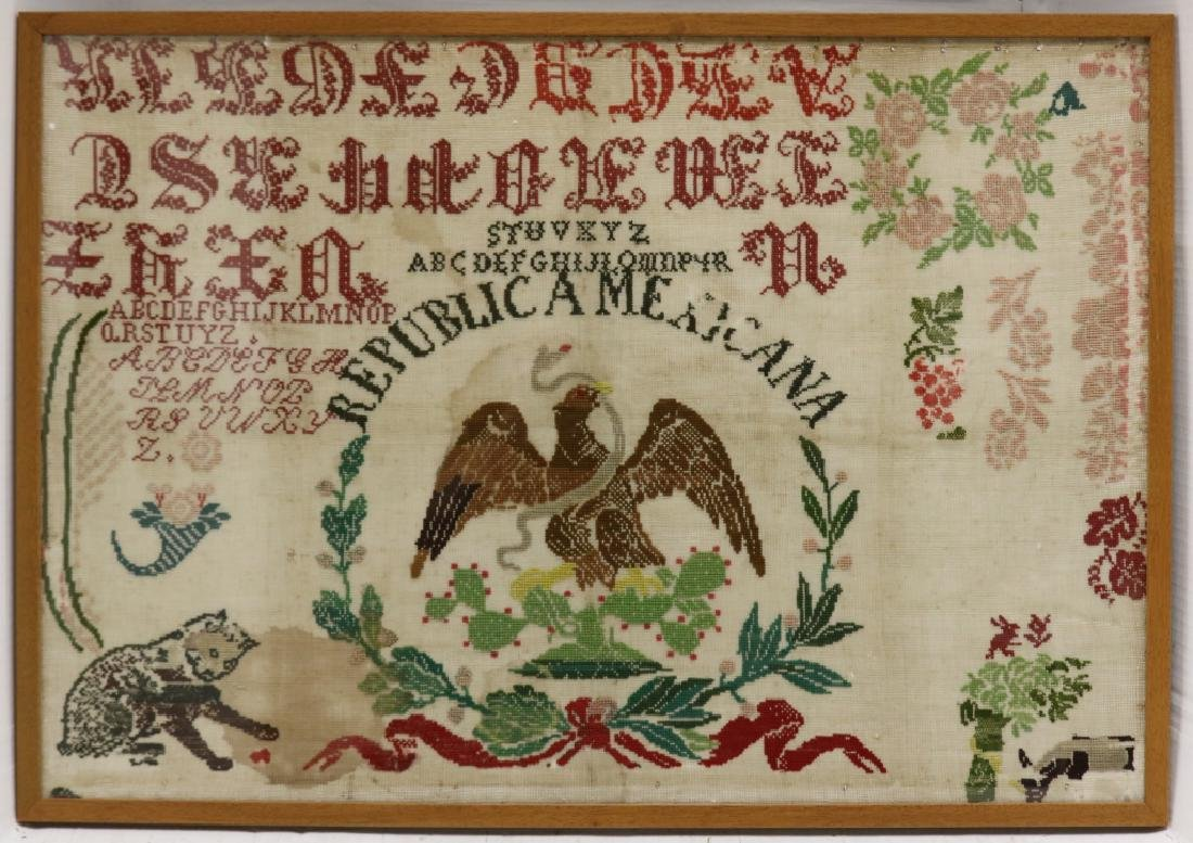 LATE 19TH C NEEDLEWORK SAMPLER, TITLED REPUBLICA