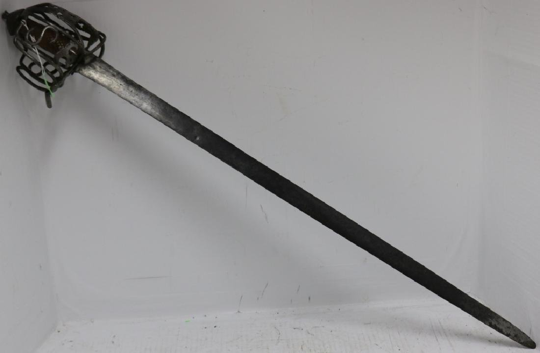 18TH C SCOTTISH HILTED BROADSWORD, REPAIRED