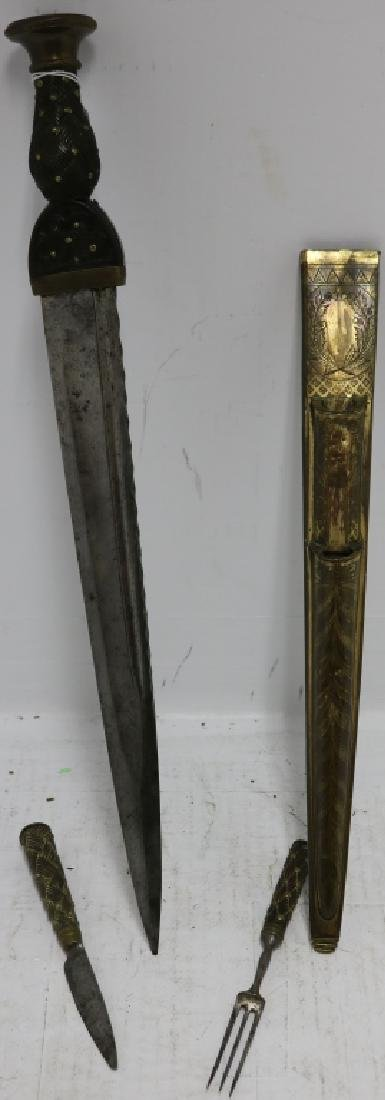 EARLY 19TH C SCOTTISH DIRK, CARVED WOODEN HANDLE - 2