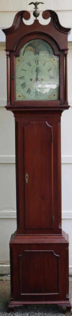 CIRCA 1800 AMERICAN CHERRY TALL CASE CLOCK,