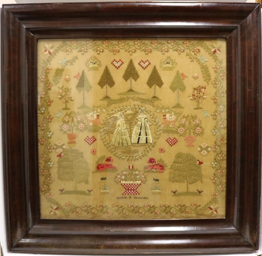 ENGLISH NEEDLEWORK PICTURE ON LINEN BY ELIZABETH