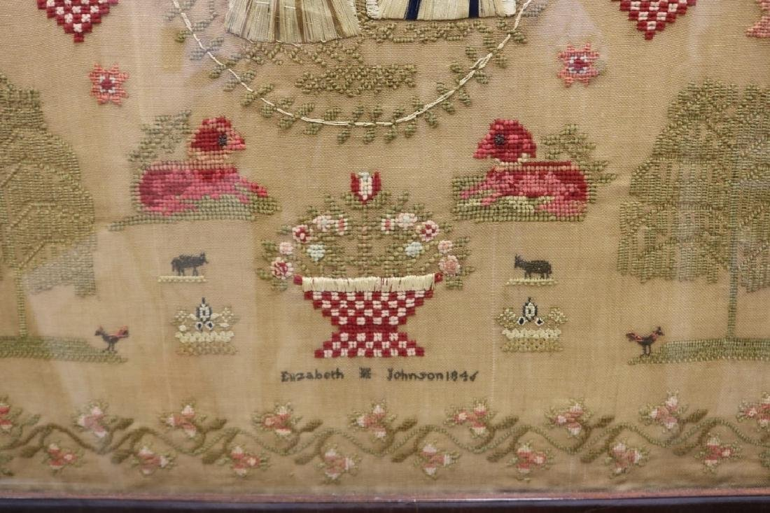 ENGLISH NEEDLEWORK PICTURE ON LINEN BY ELIZABETH - 2
