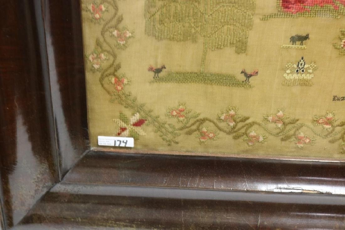 ENGLISH NEEDLEWORK PICTURE ON LINEN BY ELIZABETH - 3