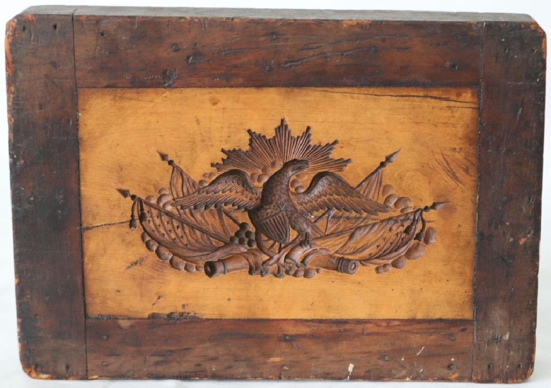 19TH C EAGLE CARVED WITH AMERICAN FLAGS, WOODEN