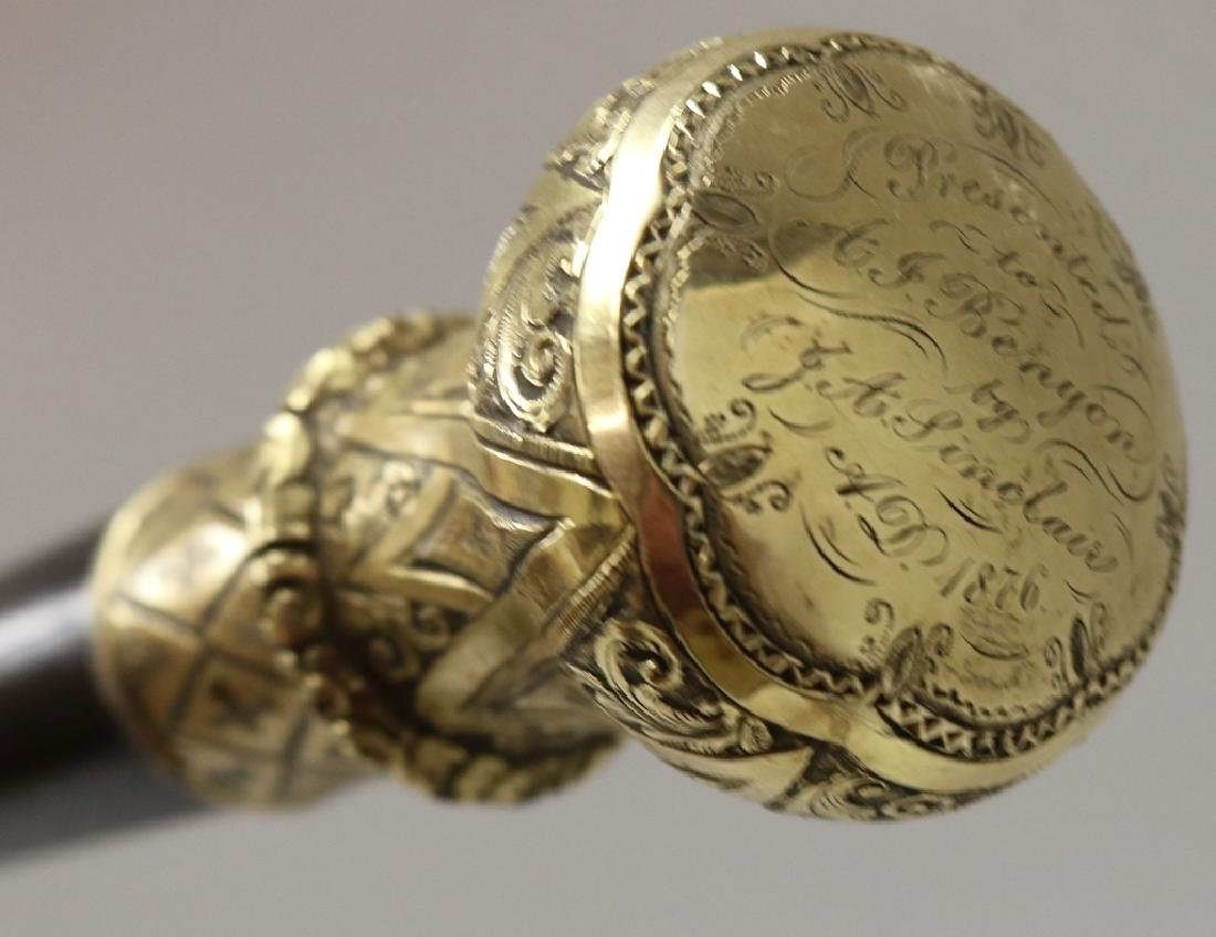 19TH C WALKING STICK WITH ORNATE GOLD FILLED TOP, - 2