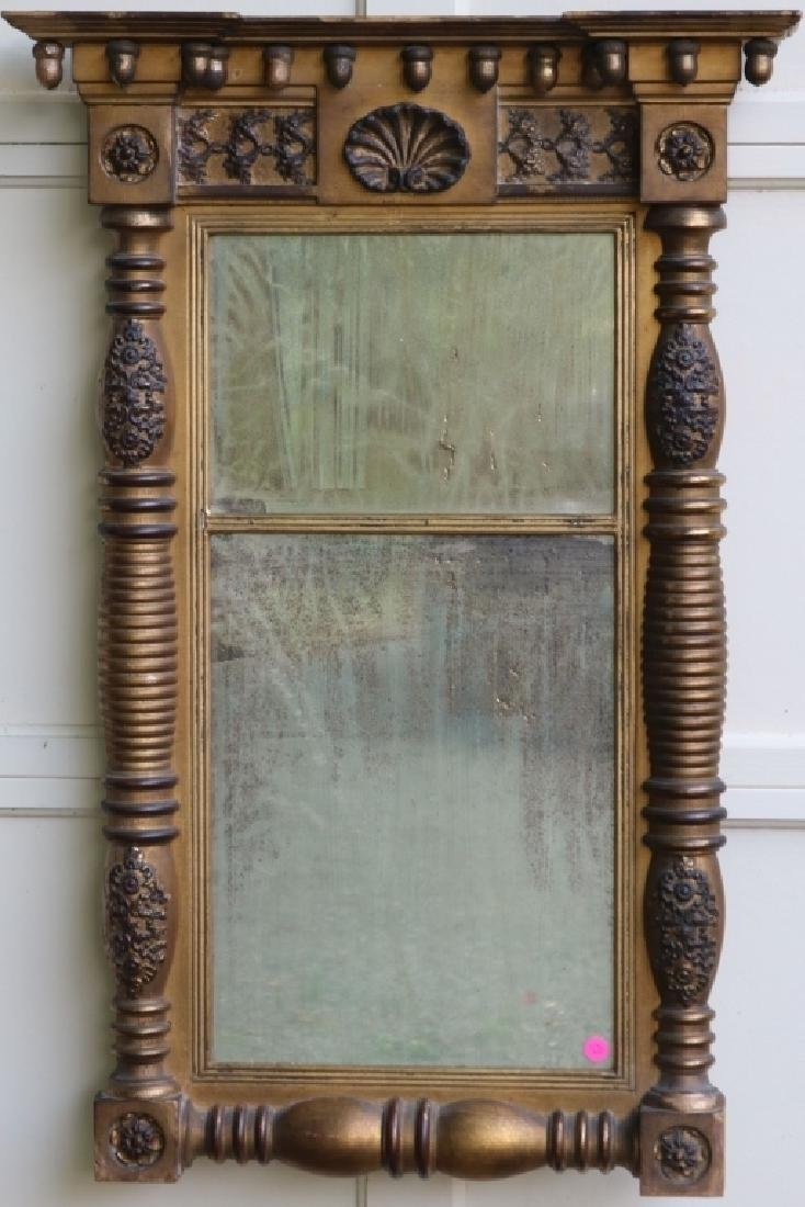 19TH C SPLIT COLUMN LOOKING GLASS WITH 2 PART