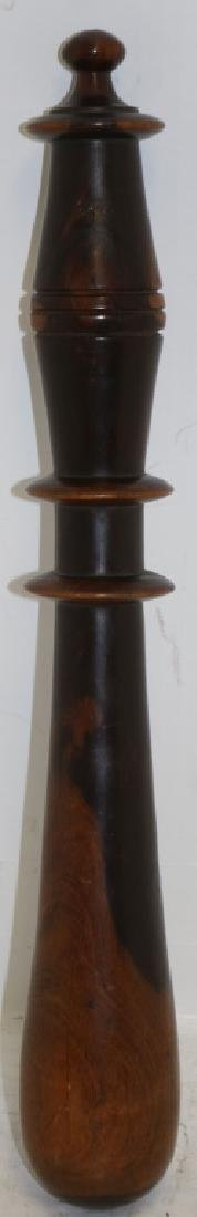 MID-19TH C TRUNCHEON, TURNED LIGNUM VITAE.  SHOWS