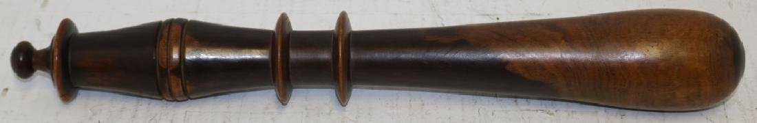MID-19TH C TRUNCHEON, TURNED LIGNUM VITAE.  SHOWS - 2