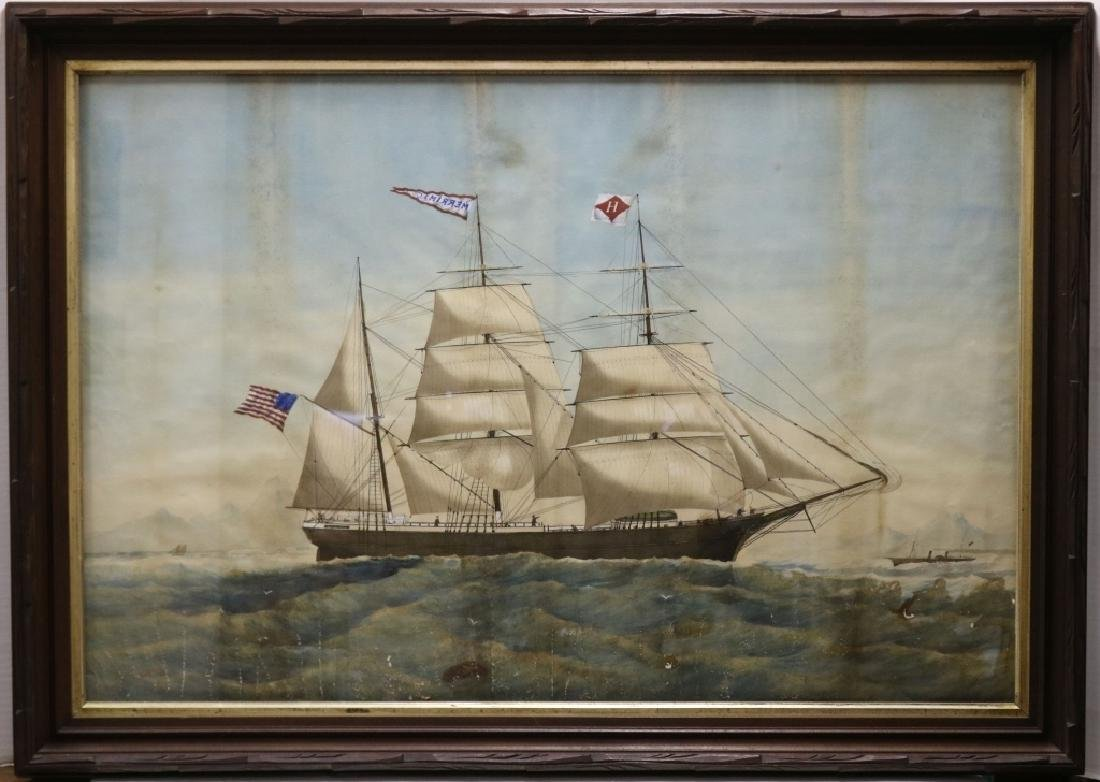 19TH C WATERCOLOR ON PAPER DEPICTING 3 MASTED