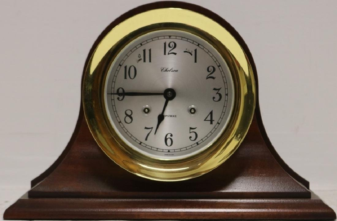 CHELSEA BRASS SHIP'S CLOCK, 20TH C WITH SHIPS