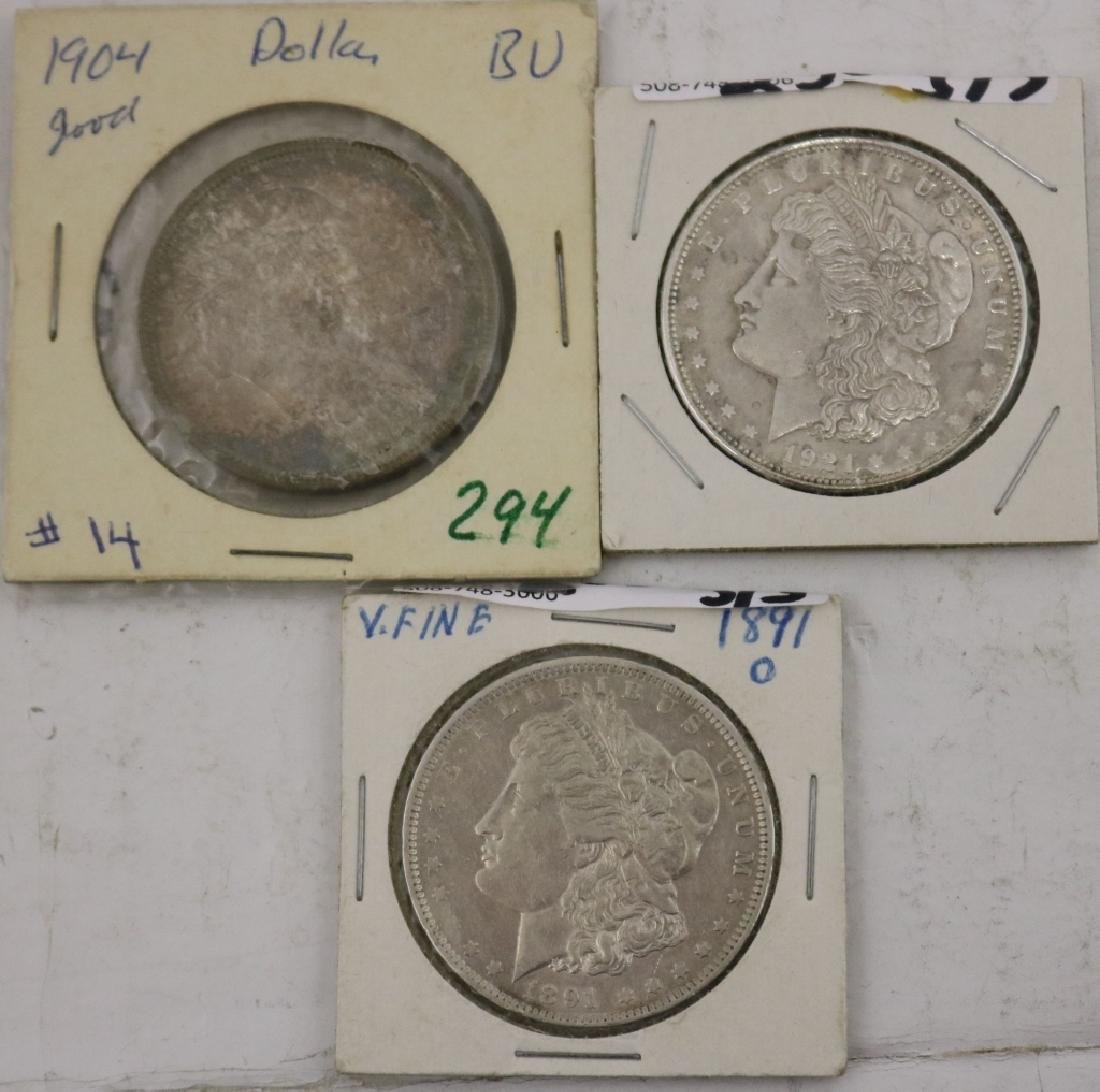 3 U.S. SILVER DOLLARS INCLUDING ONE 1904