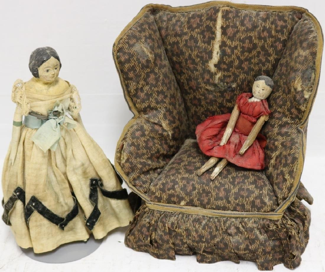 3 PIECE 19TH C DOLL LOT TO INCLUDE WING CHAIR