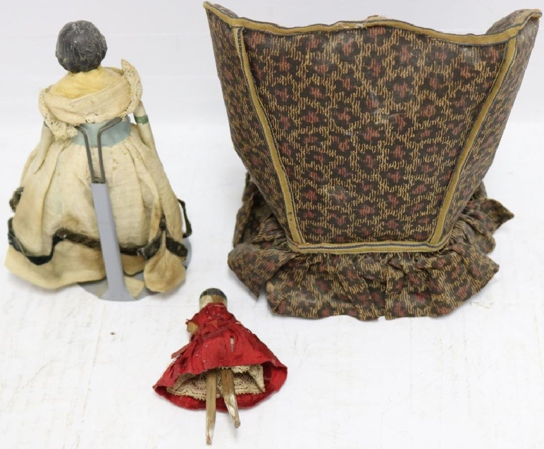 3 PIECE 19TH C DOLL LOT TO INCLUDE WING CHAIR - 2