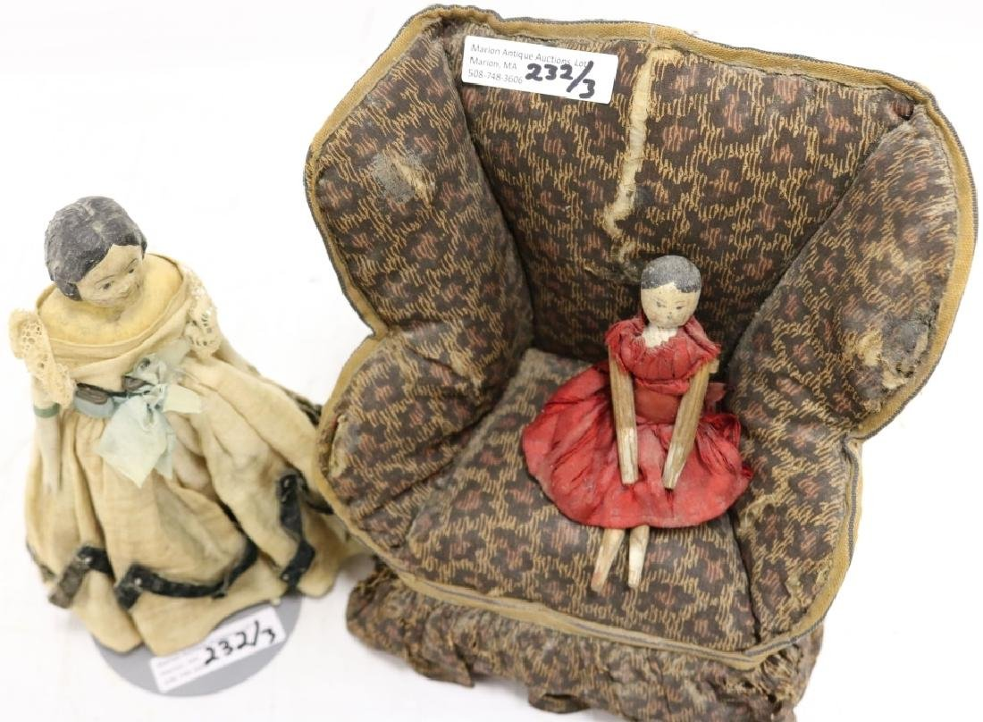 3 PIECE 19TH C DOLL LOT TO INCLUDE WING CHAIR - 3