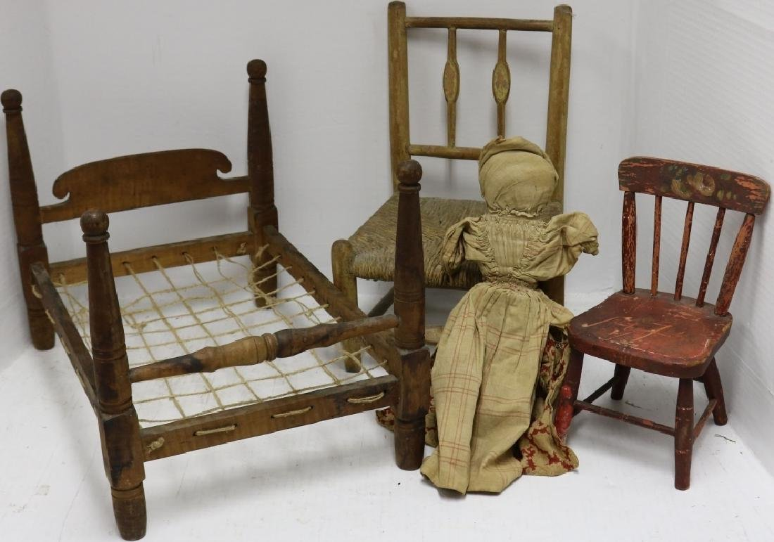 4 PIECE 19TH C DOLL AND TOY LOT TO INCLUDE TIGER