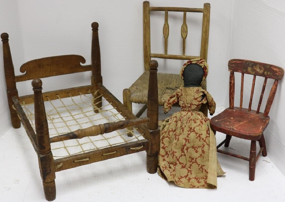 4 PIECE 19TH C DOLL AND TOY LOT TO INCLUDE TIGER - 2