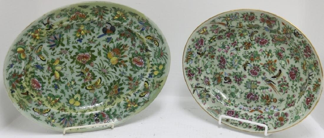 2 SIMILAR ROSE CELADON PLATTERS, 19TH C WITH